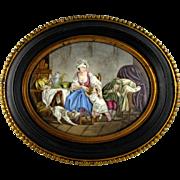 SALE Antique French Limoges Enamel on Copper Miniature Portrait Plaque, Mother & Children, Dog