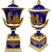 Large Antique A. Lamm Dresden German Porcelain Cobalt Blue Hand Painted Raised Gold Lidded Urn