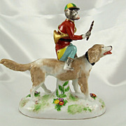 SOLD Rare French Porcelain Monkey Band Riding a Dog Figurine