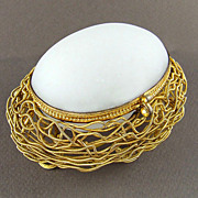 SOLD Antique French Napoleon III White Opaline & Ormolu Egg in a Bird's Nest