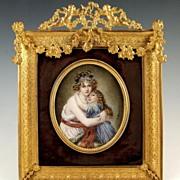 SOLD Large Antique French Miniature Portrait Ornate Gilt Bronze Frame Madame Lebrun