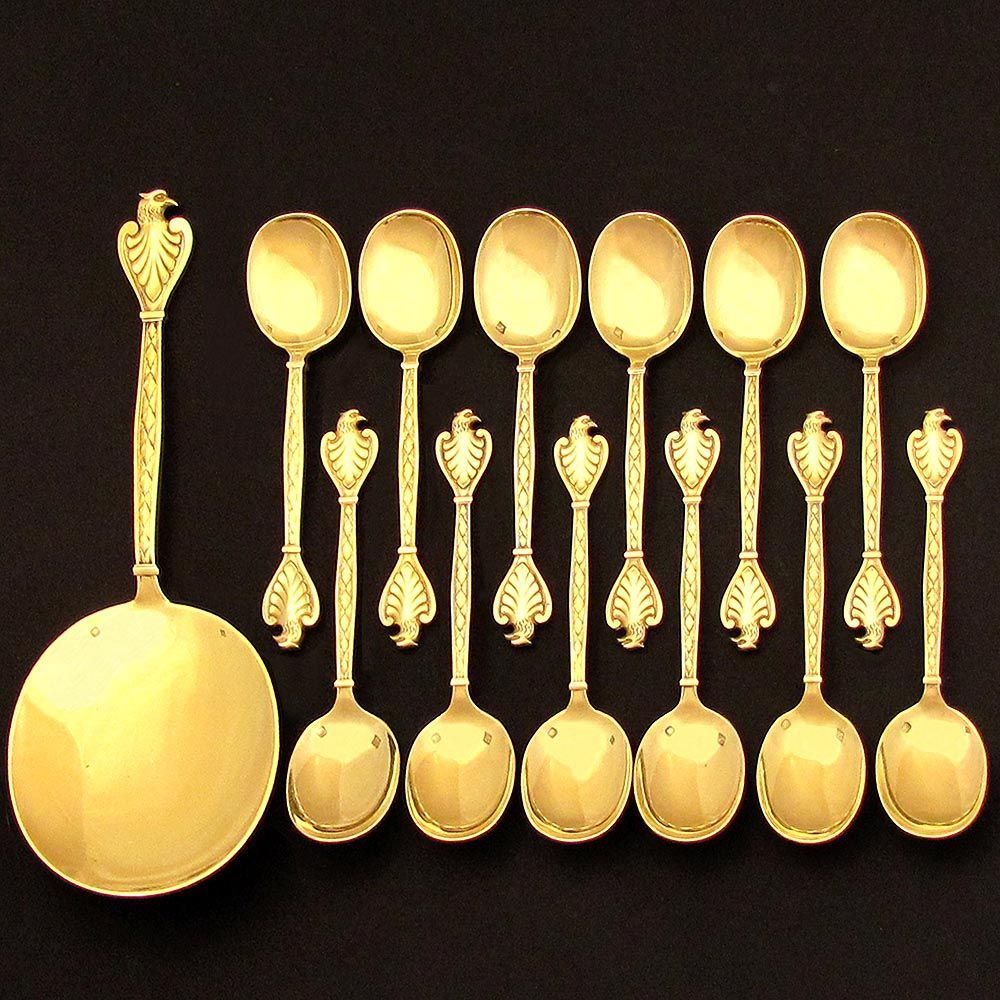 13pc Antique French Gilded Vermeil Sterling Silver Dessert  or Ice Cream Serving Set