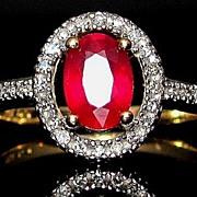 SOLD Stunning Vintage 14k Ruby & Diamond Ring