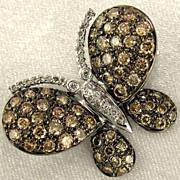 SALE 14K Gold 2.63ct DIAMOND Figural Butterfly Brooch / Pendant