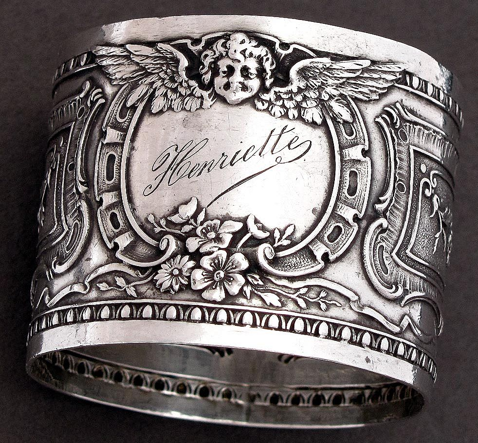 Antique French Sterling Silver Napkin Ring, Cherub Motif