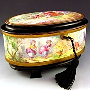 SOLD Antique French SIGNED Oliviere Paris Enamel & Bronze Jewelry Casket Box, Scenes of Childr