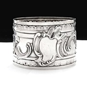 SALE Ornate Antique French Sterling Silver Repousse Napkin Ring, Silversmith Henri Soufflot
