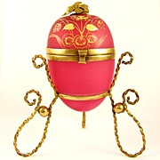 SALE Antique French Pink Opaline Glass Egg Casket Hinged Box, Enamel