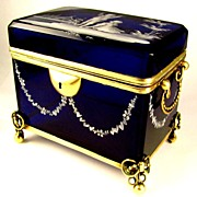 SOLD Antique Bohemian Mary Gregory Enamel Cobalt Blue Glass Jewelry Casket Box