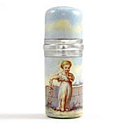 SALE Antique French .800 Silver Enamel Scent Perfume Bottle, Boar's Head Hallmark
