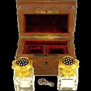 SOLD Antique French Carved Wood Perfume Casket, Box, Enamel Ormolu Crystal Scent Bottles