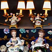 SOLD Pair of French Ormolu Vanity / Boudoir Candelabra Lamps, Porcelain Figurines of Children,