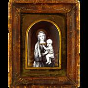 SOLD Antique French Limoges Enamel on Copper Grisaille Miniature Portrait Plaque