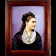 SALE Antique 19thc Hand Painted Porcelain Portrait Plaque, Signed