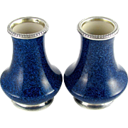 Pair French Paul Milet for Sevres Porcelain Vases Hallmarked Sterling Silver 950 Mounts