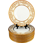 SALE 12 Royal Doulton English Porcelain Raised Gilt Enamel Gold Encrusted Plates Set, Davis ..