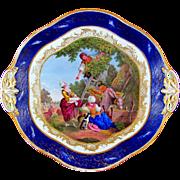 Antique French Sevres Porcelain Tray, Gilt & Blue Lapis Border, Hand Painted Pastoral Scene