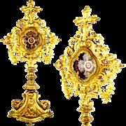 SOLD Antique 19thc Napoleon III French Gilt Bronze Monstrance Reliquary Relics