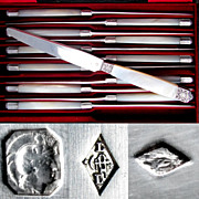SALE 12pc Boxed French Sterling Silver & Mother of Pearl Knives, Knife Set