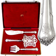 Rare Antique 19thc French 3pc Serving Set, All Sterling Silver, Asparagus Server and Fish Knife & Fork