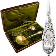 SALE Antique French Sterling Silver Gilt Vermeil Dessert Serving Set, Strawberry Spoon & .
