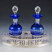 French Silver Oil & Vinegar Cruet Stand, Blue Cut to Clear Glass Decanters