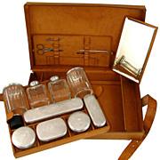 Antique French Sterling Silver, Cut Crystal Vanity Set, Perfume/Cologne Bottles, Gentleman's .