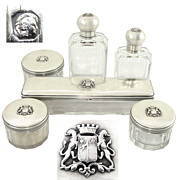 SALE 6pc Antique French Sterling Silver & Cut Glass Armorial Coat of Arms Vanity Dressing Tabl