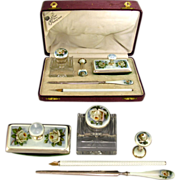 SALE Antique Sterling Silver 935 Guilloche Enamel 5pc Writing Desk Set : Cut Crystal Inkwell,