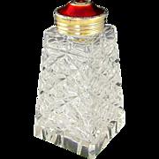 SALE Norwegian Hroar Prydz Norway Sterling Silver Red Guilloche Enamel Glass Sugar Shaker