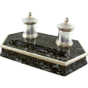 SALE Antique French Sterling Silver 950/1000 & Marble Double Inkwell, Inkstand
