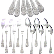 SALE 12pc Antique French Sterling Silver Flatware Service, Forks & Spoons