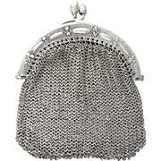 SALE Antique French .800 Silver Chain Mail Mesh Chatelaine Purse