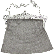 SALE Large Antique Edwardian Sterling Silver Chain Mail / Mesh Lady's Purse Evening Bag, Love