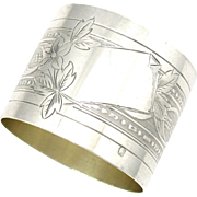SALE Antique 19thc French Sterling Silver 950 Engraved Napkin Ring, by Louis Coignet