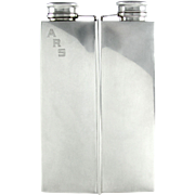 SALE RARE Large Art Deco Sterling Silver 2 Pint Double Chamber Whiskey Spirits Hip Flask