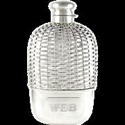 SALE Antique Gorham Sterling Silver Basket Weave Whiskey Spirits Hip Flask