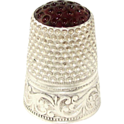 SOLD Antique German 800 Silver Lutz & Weiss Sewing Thimble, Amethyst Stone Top