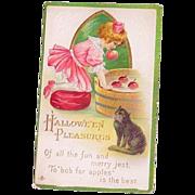 L.S.C. Halloween 1914 Little Girl & Black Cat Bobbing For Apples Postcard
