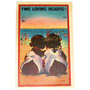 Black Americana: Two Loving Hearts Postcard - Marked