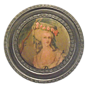Round Pewter Powder Box With Renaissance Lady Design On Top
