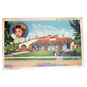 SOLD Home Of Shirley Temple Linen Postcard - Marked