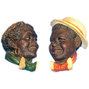 SALE Black Americana: Terra Cotta Minstrel Wall Banks - 1950s