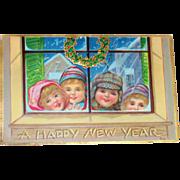 A Happy New Year Children At Window Postcard