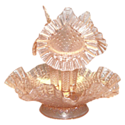Fenton French Diamond Lace Pink Opalescent Glass Epergne - Marked
