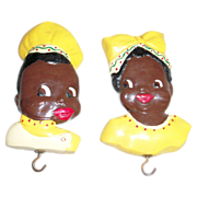 SOLD Black Americana: Chalkware Chef & Mammy Wall Plaques