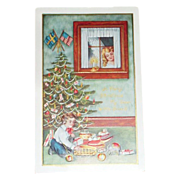 Christmas Angel At Window Watching Boy Postcard