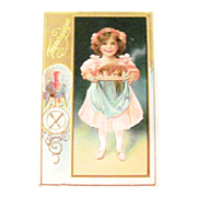 Thanksgiving: Little Girl Holding Cooked Turkey on Platter Postcard