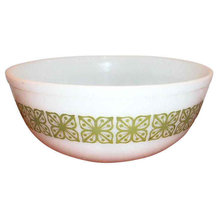Pyrex Square Flowers Design Large White & Green Bowl - Marked