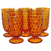 Indiana Glass Co.: Amber Cubist Whitehall Stemmed Juice Glass